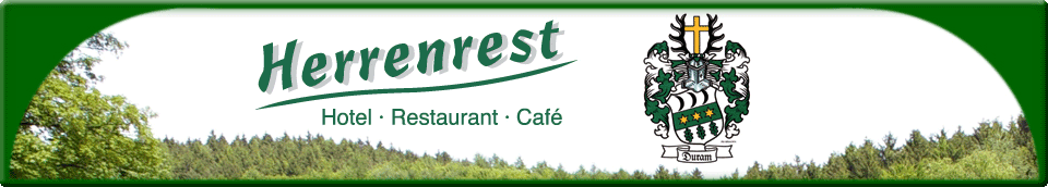 Hotel Herrenrest - Hotel, Restaurant und Café mit Familienwappen aus Ausblick
